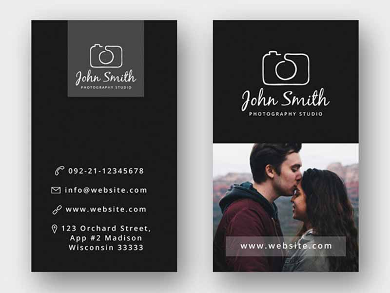 Minimal photographer business card psd template graphicslot reheart Choice Image