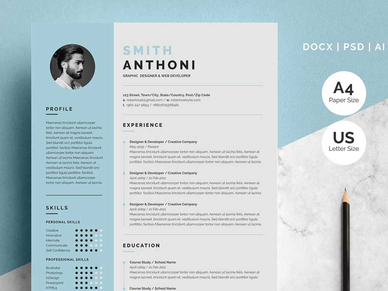 Free 2 Pages Resume Template Download Graphicslot