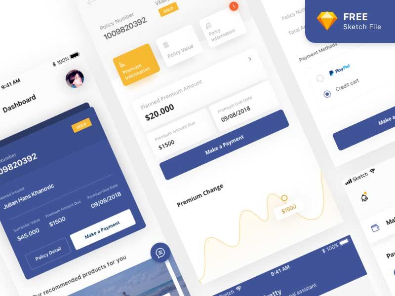 insurance mobile app ui design in sketch