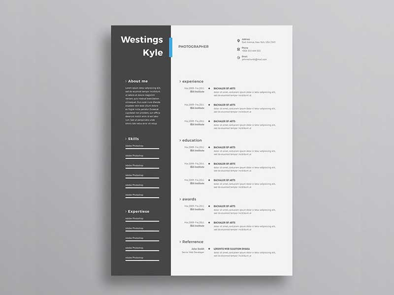 free ultra minimal photo resume cv template with cover letter in psd