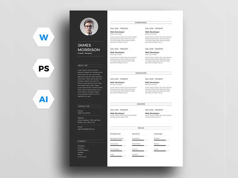 free resume template for word  illustrator and photoshop