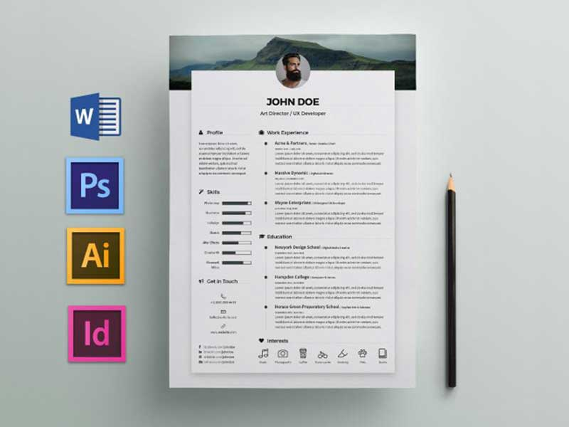 Free Elegant Resume CV Template For Any Job Opportunity In Word PSD AI ID
