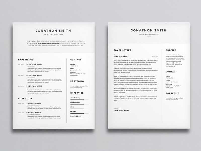 Free Clean Minimal CV And Cover Letter Template With Illustrator AI File