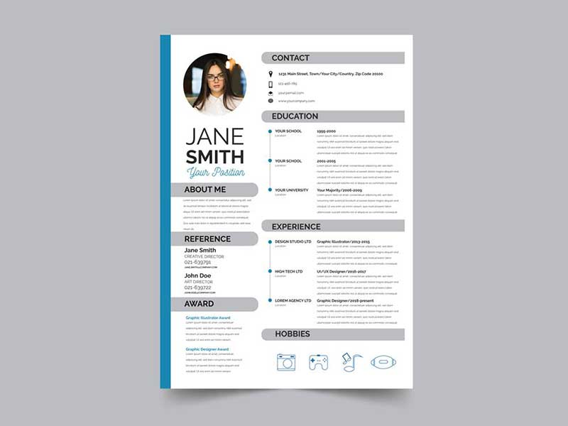 free modern resume template with flat style design