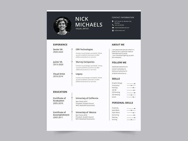 free visual artist photo resume cv template in psd  ai  id  word