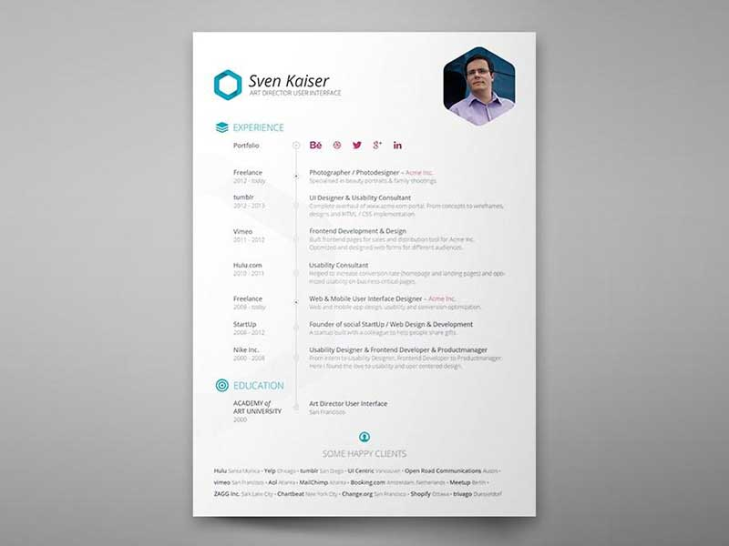 Clean Resume Template In PSD
