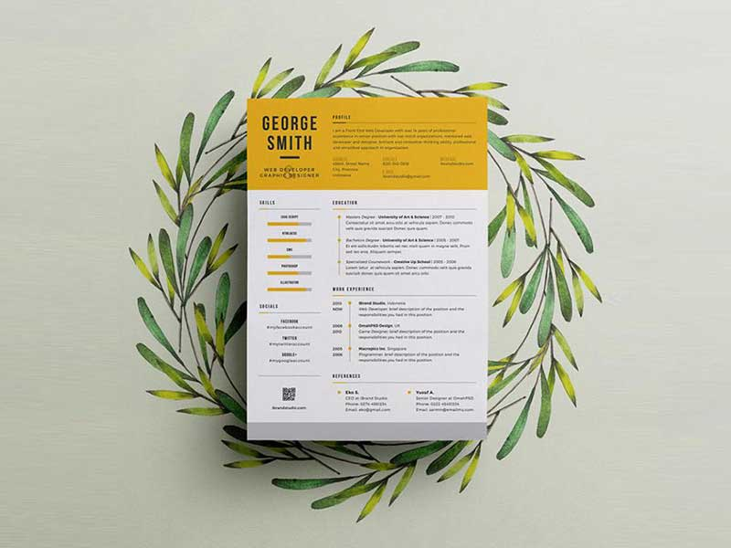Free Cool Resume Template With Elegant Design In Psd Graphicslot