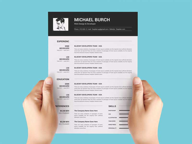 free black and white resume template with minimal design