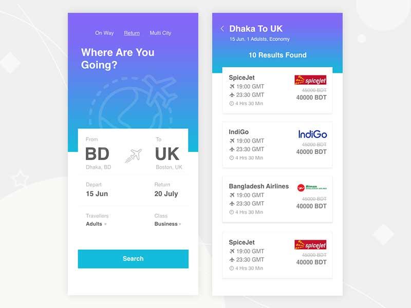 free flight booking app ui in adobe xd