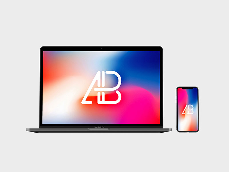 free front view iphone x and macbook pro mockup
