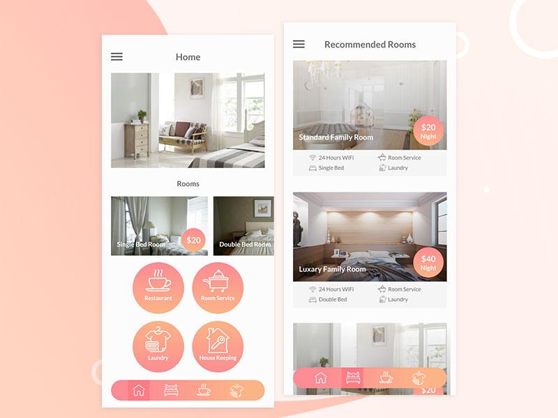 hotel booking app ui design  free download